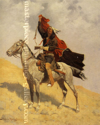 Frederic Remington, The Blanket Signal, 1896, oil on canvas, 27 x 22 in. / 68.6 x 55.9 cm, US$289