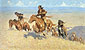 Frederic Remington, The Buffalo Runners, Big Horn Basin, 1909, oil on canvas, 30.1 x 51.5 in. / 76.5 x 130.8 cm, US$500.