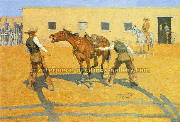 Frederic Remington, His First Lesson, 1903, oil on canvas, 27.1 x 40 in. / 68.8 x 101.6 cm, US$430