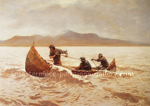 Frederic Remington, Howl of the Weather, 1906, oil on canvas, 27 x 40 in. / 68.6 x 101.6 cm, US$390