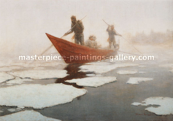 Frederic Remington, Breaking Up the Ice in the Spring, 1906, oil on canvas, 27 x 40 in. / 68.6 x 101.6 cm, US$390