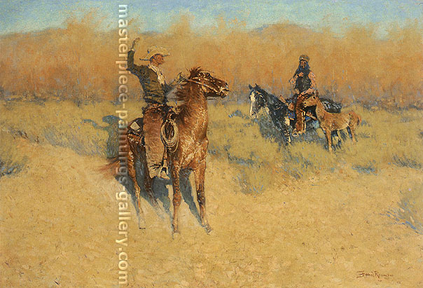 Frederic Remington, The Long Horn Cattle Sign, 1908, oil on canvas, 27.1 x 40.1 in. / 68.8 x 101.9 cm, US$410