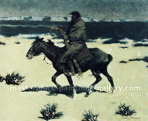 Frederic Remington, The Luckless Hunter, 1909, oil on canvas, 26.9 x 28.9 in. / 68.3 x 73.4 cm, US$280