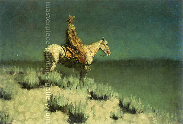 Frederic Remington, The Night Herder, oil on canvas, 24.2 x 36 in. / 61.5 x 91.4 cm, US$370