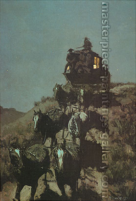 Frederic Remington, The Old Stage Coach of the Plains, 1901, oil on canvas, 41.3 x 27.3 in. / 102 x 69 cm, US$350