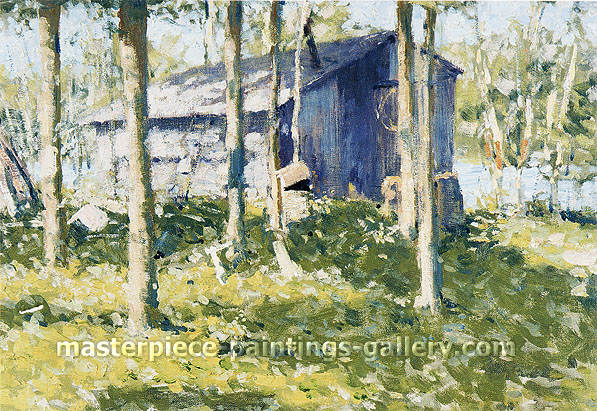 Frederic Remington, Pete's Shanty, 1908, oil on canvas, 19.5 x 25.5 in. / 49.5 x 64.8 cm, US$300