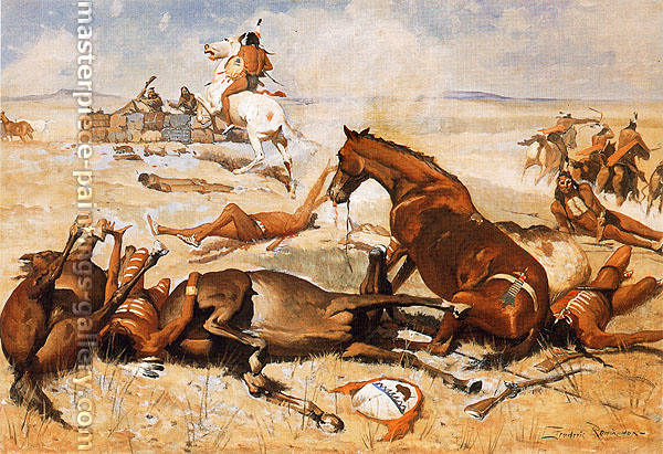 Frederic Remington, He Rushed the Pony Right to the Barricade, 1900, oil on canvas, 27.1 x 40.1 in. / 68.8 x 101.9 cm, US$400