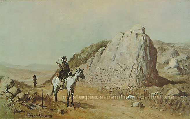 Frederic Remington, Register Rock, Idaho, 1891, oil on canvas, 17.1 x 27.8 in. / 43.5 x 70.5 cm, US$280