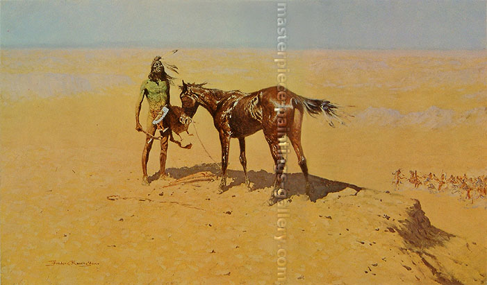 Frederic Remington, Ridden Down, 1905, oil on canvas, 30.3 x 51.4 in. / 76.8 x 130.5 cm, US$450