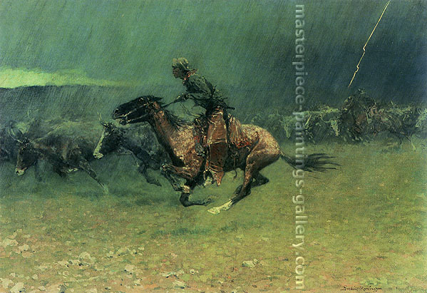 Frederic Remington, The Stampede, 1908, oil on canvas, 27 x 40 in. / 68.6 x 101.6 cm, US$410