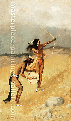 Frederic Remington, The Thunder-Fighhters Would Take Their Bows and Arrows, Their Guns, Their Magic Drum, 1892, oil on canvas, 35.1 x 20.7 in. / 89.3 x 52.5 cm, US$300