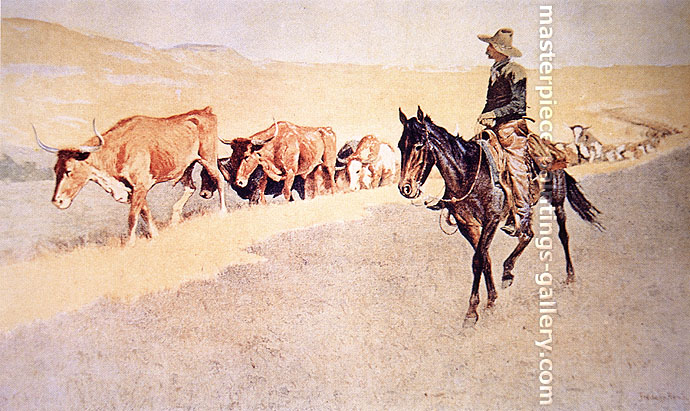 Frederic Remington, Trailing Texas Cattle, 1906, oil on canvas, 17.6 x 29.4 in. / 44.6 x 74.7 cm, US$290