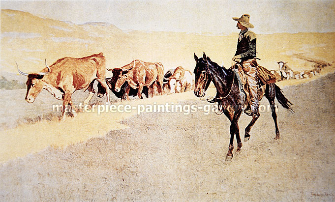 Frederic Remington, Trailing Texas Cattle, oil on canvas, 23 x 38.2 in. / 58.5 x 97 cm, US$380