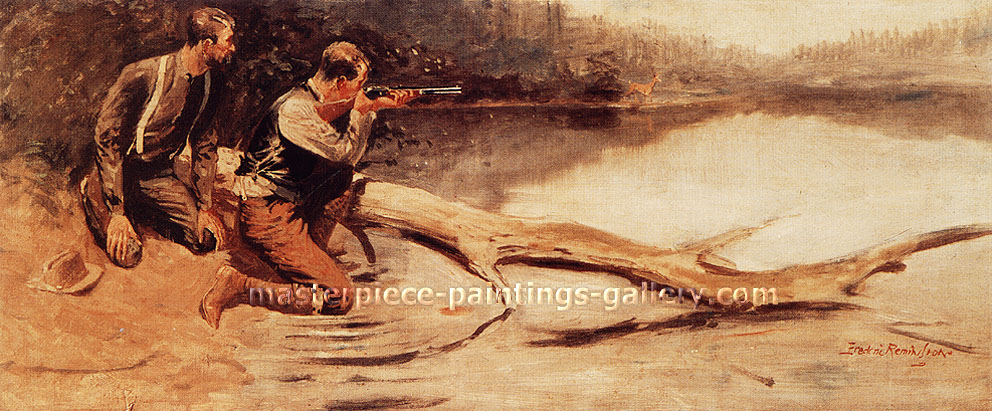 Frederic Remington, The Winchester,  oil on canvas, 38.8 x 16.2 in. / 98.6 x 41.1 cm, US$380