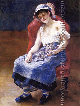 Pierre-Auguste Renoir, Sleeping Girl with a Cat, 1880, oil on canvas, 22 x 17.2 in. / 55.9 x 43.8 cm, US$330