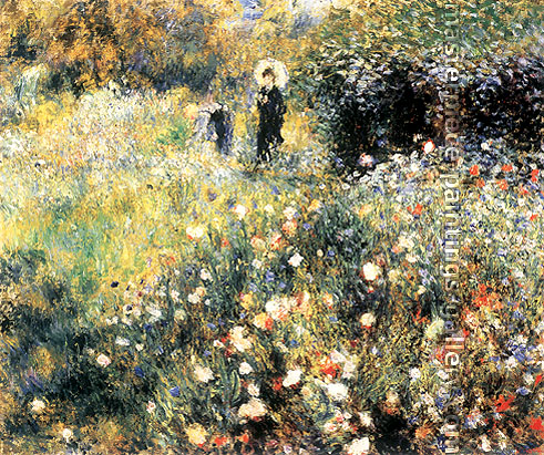 Pierre Auguste Renoir, Femme au parasol dans un jardin, oil on canvas, 21.5 x 25.6 in. / 54.5 x 65 cm, US$290