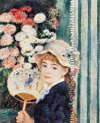 Pierre-Auguste Renoir, Girl with a Fan | Femme a l'eventail, 1879-80, oil on canvas, 25.6 x 21.3 in. / 65 x 54 cm, US$350
