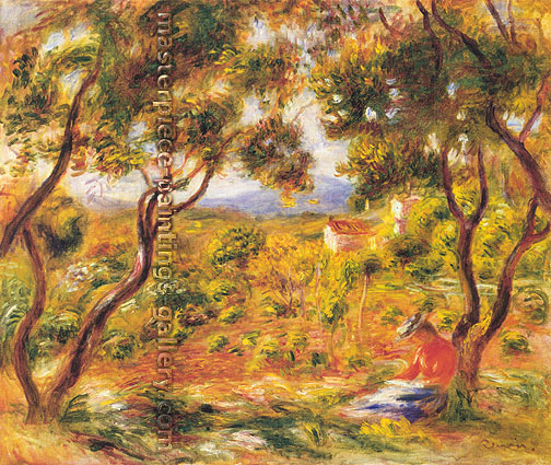 Pierre-Auguste Renoir, Vines at Cagnes | Les Vignes a Cagnes, 1908, oil on canvas, 18.3 x 21.8 in. / 46.4 x 55.3 cm, US$330