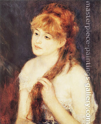Pierre-Auguste Renoir, Young Woman braiding her Hair | La Chevelure, 1876, oil on canvas, 21.9 x 18.3 in. / 55.6 x 46.4 cm, US$330