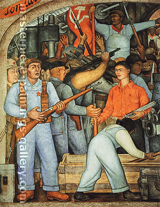 Diego Rivera, The Arsenal - Frida Kahlo Distributes Arms (Detail), 1928, oil on canvas, 53.8 x 43.7 in. / 136.6 x 110.9 cm, US$530
