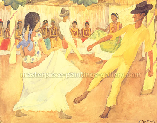Diego Rivera, Zandunga, Tehauntepec Dance | Baile en Tehauntepec | Dance in Tehauntepec, 1935,  oil on canvas, 25.4 x 32 in. / 64.6 x 81.3 cm, US$300