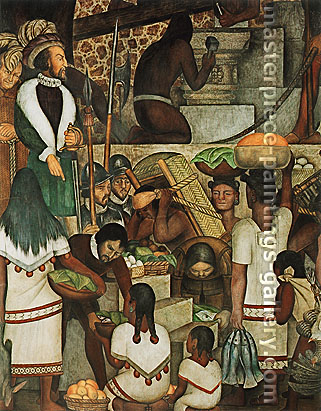 Diego Rivera, Building the Cortes Palace | Construccion del Palacio de Cortes, 1930-31, oil on canvas, 60 x 37.2 in. / 152.3 x 94.5 cm, US$580