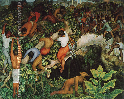 Diego Rivera, Crossing the Gorge | Cruzando la barranca, 1930-31, oil on canvas, 51.4 x 61.9 in. / 130.5 x 157.2 cm, US$670