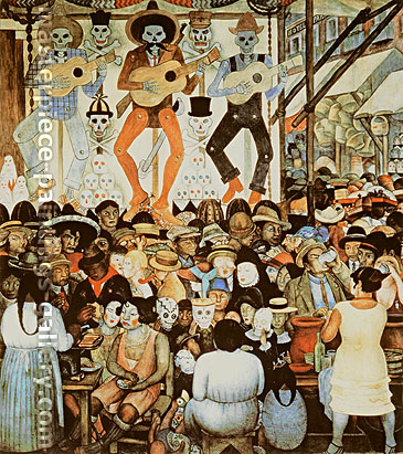Diego Rivera, Day of the Death --City Fiesta, 1923-24, oil on canvas, 65.7 x 59.1 in. / 166.8 x 150 cm, US$670