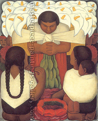 Diego Rivera, Flower Day a.k.a. Flower Festival, 1925, oil on canvas, 58 x 47.5 in. / 147.2 x 120.6 cm, US$590