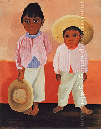Diego Rivera, My Godfather's Son | Portrait of Modesto and Jesus Sanchez, 1930, oil on canvas, 23.4 x 18.7 in. / 59.5 x 47.6 cm, US$265