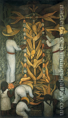 Diego Rivera, The Maize Festival, 1923-1924, oil on canvas, 32 x 17.5 in / 81.3 x 44.4 cm, US$330