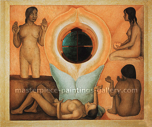 Diego Rivera, The Maturation | Maduracion, 1926-27, oil on canvas, 41.8 x 43.3 in. / 106.2 x 110.1 cm, US$420