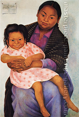 Diego Rivera, Portrait of Modesta and Inesita, 1939, oil on canvas, 39 x 27.2 in. / 99 x 69 cm, US$380