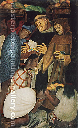 Diego Rivera, The New Religion and the Inquisition | La nueve religion y el Santo Oficio, 1930-31, oil on canvas, 50.2 x 15.8 in. / 127.5 x 40.2 cm, US$490