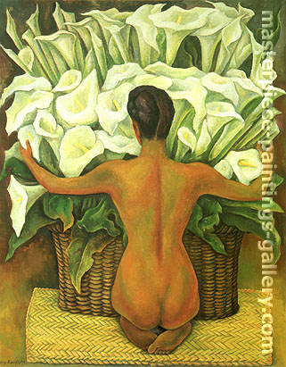 Diego Rivera painting Nude with Calla Lilies, 1944, oil on canvas, 32 x 25.3 in / 81.3 x 64.3 cm, US$290