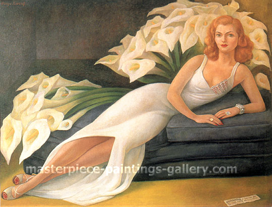 Diego Rivera, Portrait of Natasha Zakolkowa Gelman, 1943, oil on canvas, 27.1 x 36 in / 68.7 x 91.4 cm, US$310