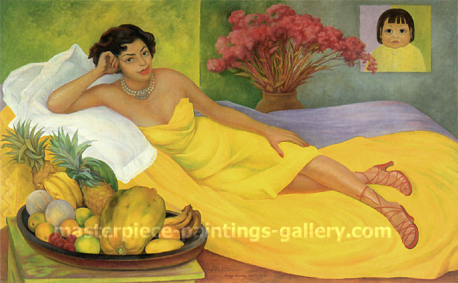 Diego Rivera, Portrait of Dona Elena Flores de Carrillo, 1953, oil on canvas, 22.8 x 36 in / 57.8 x 91.4 cm, US$300