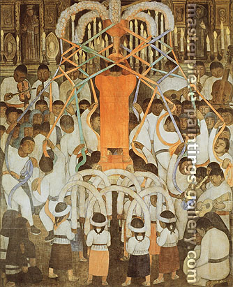 Diego Rivera, Ribbon Dance, 1923-24, oil on canvas, 52.7 x 42.5 in. / 133.8 x 108 cm, US$530