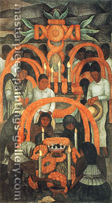 Diego Rivera, The Sacrificial Offering -Day of Dead, 1923-1924, oil on canvas, 45.4 x 25.1 in. / 115.3 x 63.7 cm, US$440