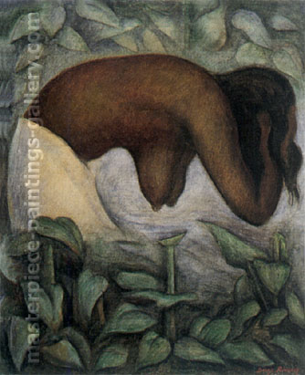 Diego Rivera, Tehuantepec Woman Washing, 1923, oil on canvas, 24 x 19.8 in / 61 x 50.3 cm, US$275