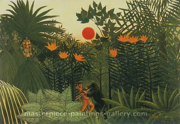 Henri Rousseau, Exotic Landscape, Fight between Gorilla and Indian | Paysage exotique, 1910, oil on canvas, 32 x 22.4 in. / 81.3 x 56.9 cm, US$650