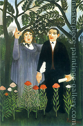 Henri Rousseau, The Muse inspiring the Poet | La muse inspirant le poet, 1909, oil on canvas, 32 x 21.3 in. / 81.3 x 54.0 cm, US$490