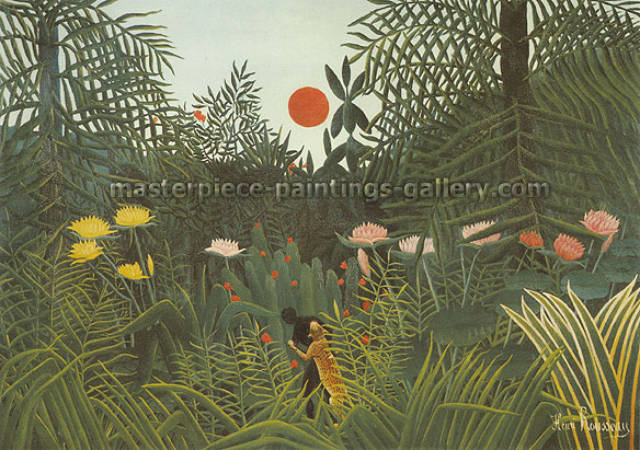 Henri Rousseau, Virgin Forest at Sunset | Forest Landscape with Setting Sun | A Negro Attacked by a Leopard | Negre attaque par un jaguar, 1910, oil on canvas, 22.8 x 32 in. / 58 x 81.3 cm, US$325