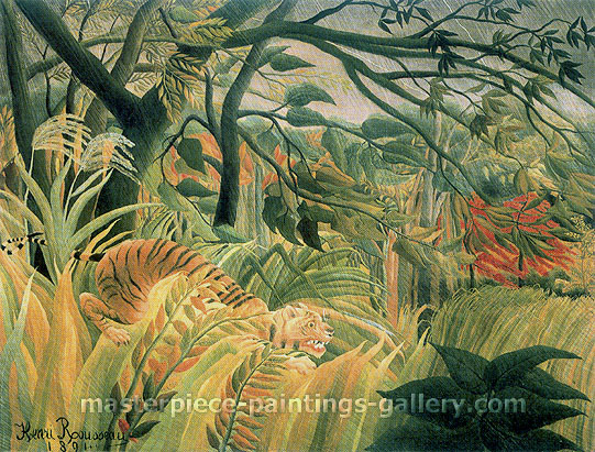 Surprise! | Storm in the Jungle | Tropical Storm with Tiger, 1891, oil on canvas, 51.2 x 63.8 in. / 130 x 162 cm, US$1350