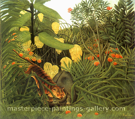 Henri Rousseau, Fight between a Tiger and a Buffalo | Combat de tiger et de buffle, 1908, oil on canvas, 28.7 x 32 in. / 73 x 81.3, US$650