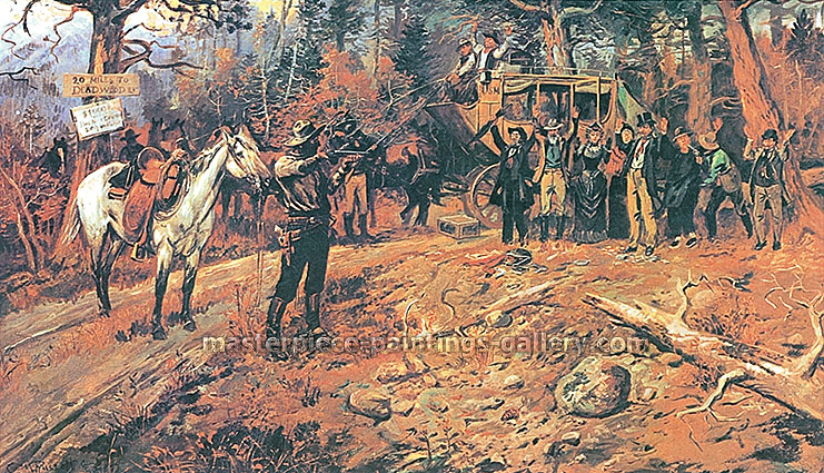 Charles M. Russel, The Hold Up | 20 Miles to Deadwood, 1899, oil on canvas, 30.4 x 48.3 in. / 77.2 x 122.6 cm, US$675