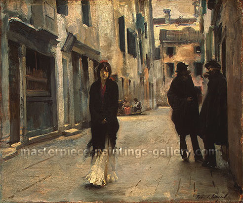 John Singer Sargent, Street in Venice, 1882, oil on canvas, 17.8 x 21.2 in. / 45.1 x 53.9 cm, US$290