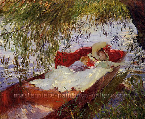 John Singer Sargent, Two Women Asleep in a Punt under the Willows, 1887, oil on canvas, 22 x 27 in. / 55.9 x 68.6 cm, US$280