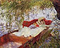 John Singer Sargent, Two Women Asleep in a Punt under the Willows, 1887; oil on canvas, 22 x 27 in. / 55.9 x 68.6 cm, US$280