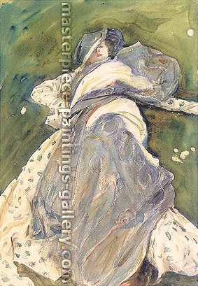 John Singer Sargent, Woman Reclining, 1908, oil on canvas, 20 x 13.7 in. / 50.8 x 34.9 cm, US$300